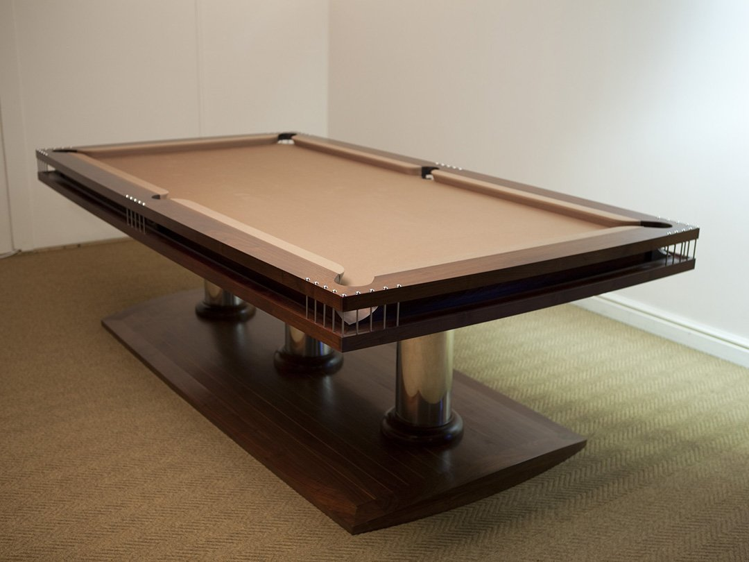 8ft Walnut contemporary dual purpose dining table.