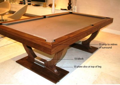 9ft Walnut Continental pool table with metal detail