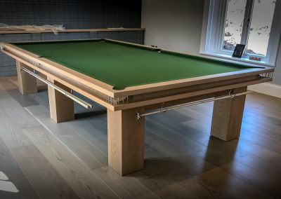 Full-size BR6 Snooker table Oak with Olive cloth