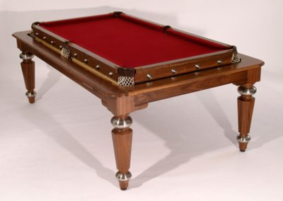 Bespoke pool-dining table - Walnut, Hex & Steel legs, Rollover mechanism