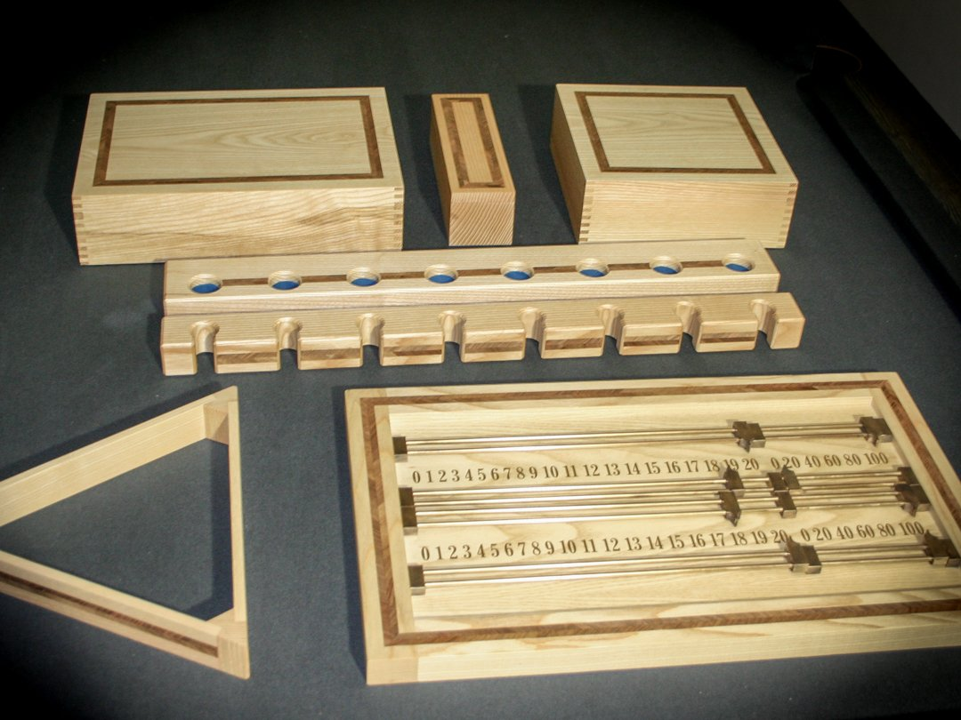 Bespoke Pool Snooker & Billiards accessories Set - handmade from Olive-Ash inlaid with feathered walnut