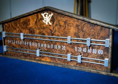 Ash & Burr Walnut Snooker scoreboard inliad with intials