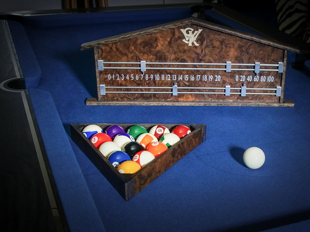 Signature Grey Ash & Burr Walnut Pool & Snooker accessory set