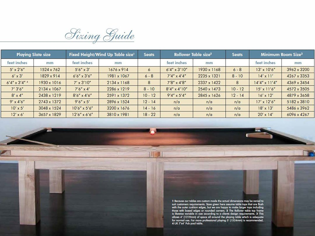 Room size guide for Snooker, Pool Billiards and dual-purpose dining tables