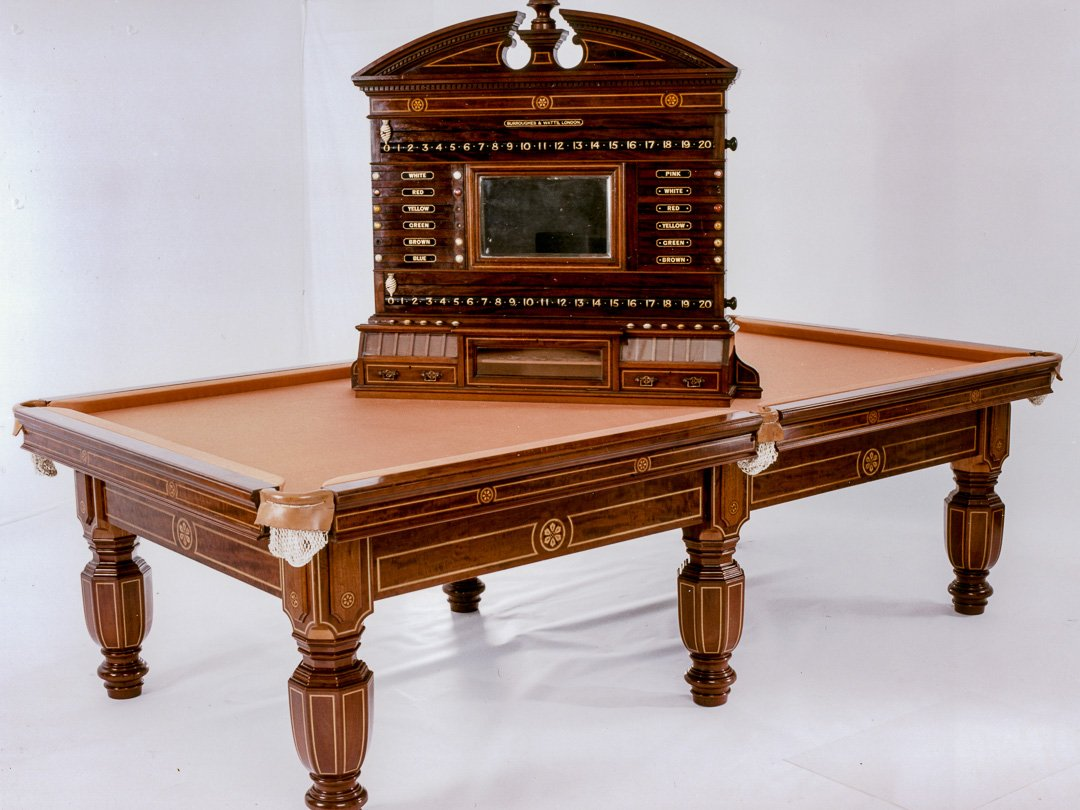 Tsar-Nicholas antique billiard table and scoreboard