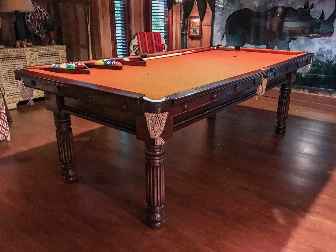 Bespoke 8ft Pool table, Gillow design, solid Mahogany