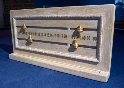 Limed-Oak Traditional Slider Snooker Scoreboard with Brass Sliders