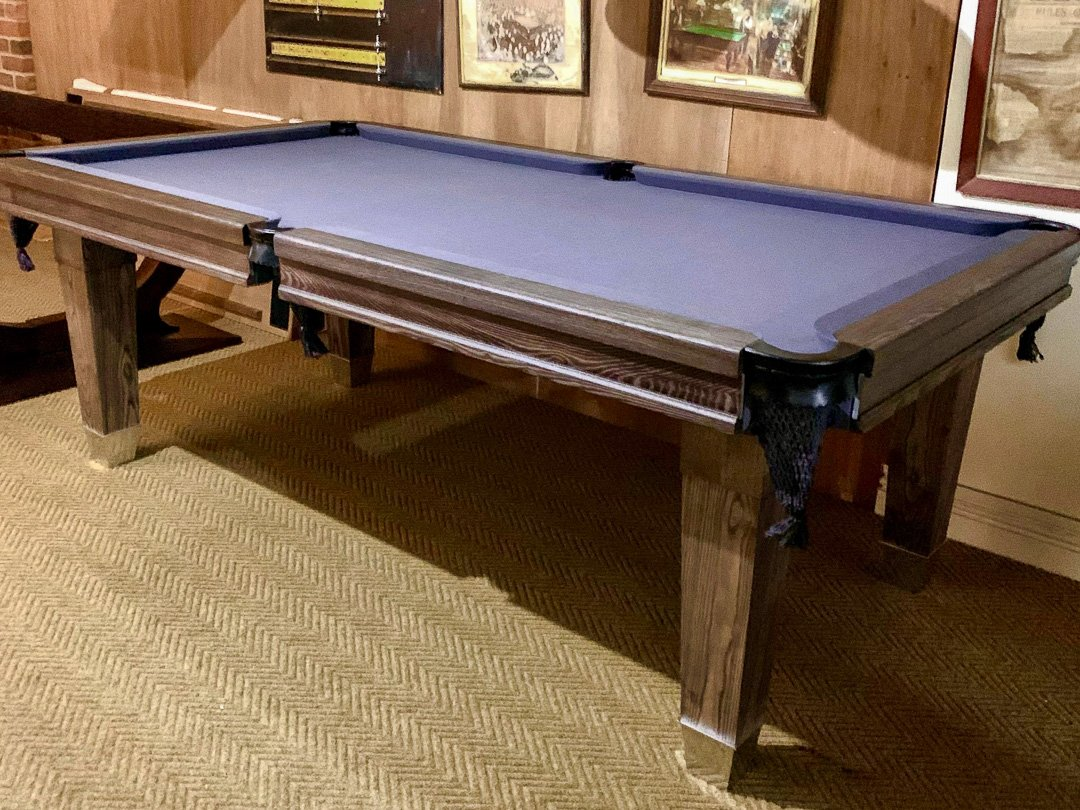 Slim-Lauren leg 7ft Pool table in grey washed Ash